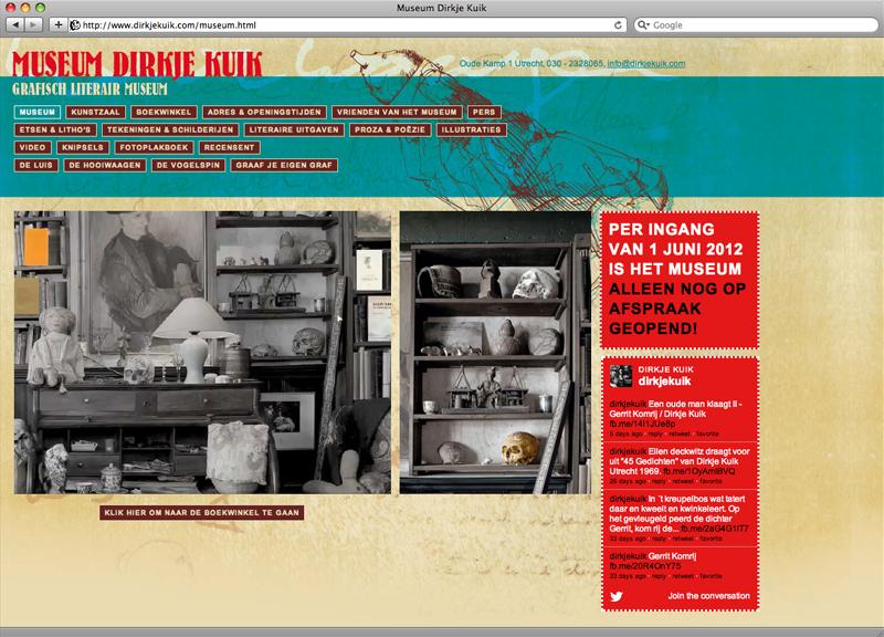ontwerp en technische uitvoering website museum Dirkje Kuik