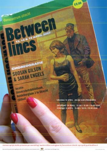 grafisch ontwerp affiche Between lines dansvoorstelling