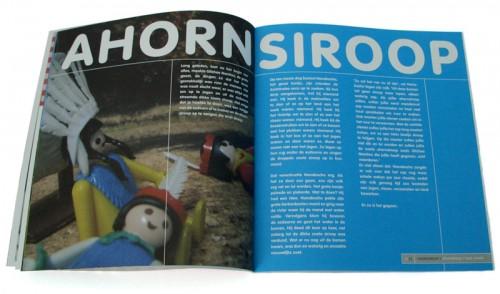Dooreten, boekontwerp, pagina Ahornsiroop met fotografische illustratie