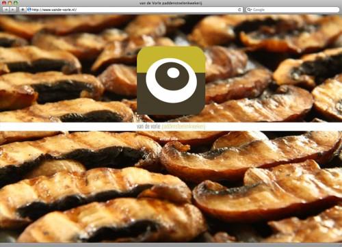 ontwerp splash-pagina met slideshow voor website Van de Vorle paddenstoelenkwekerij