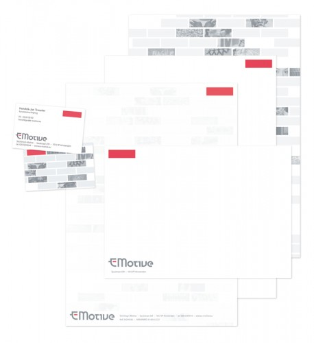 grafisch ontwerp correspondentiepakket e-motive (oxfam nederland)