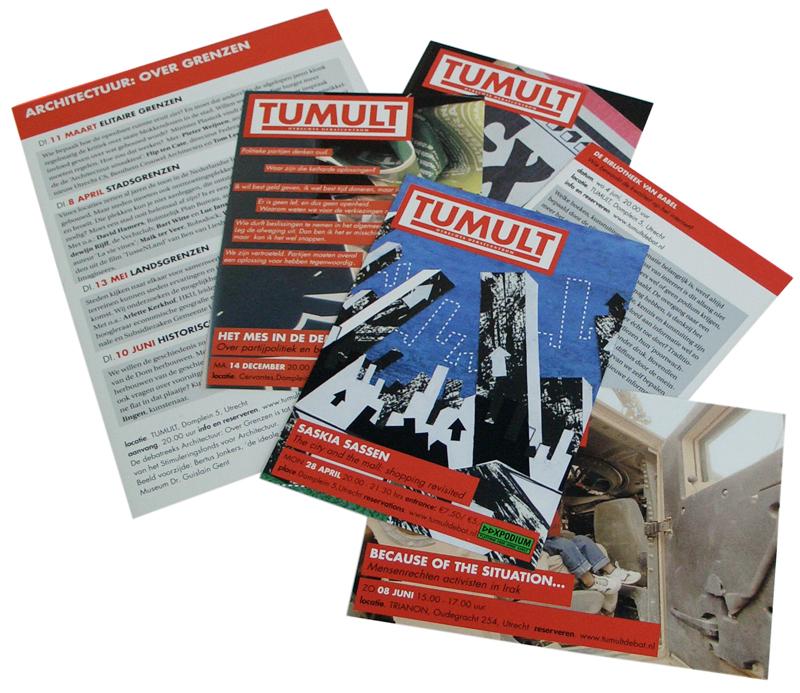 ontwerp serie flyers Tumult