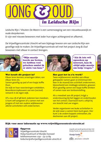 ontwerp flyer voor Vrijwilligerscentrale Utrecht