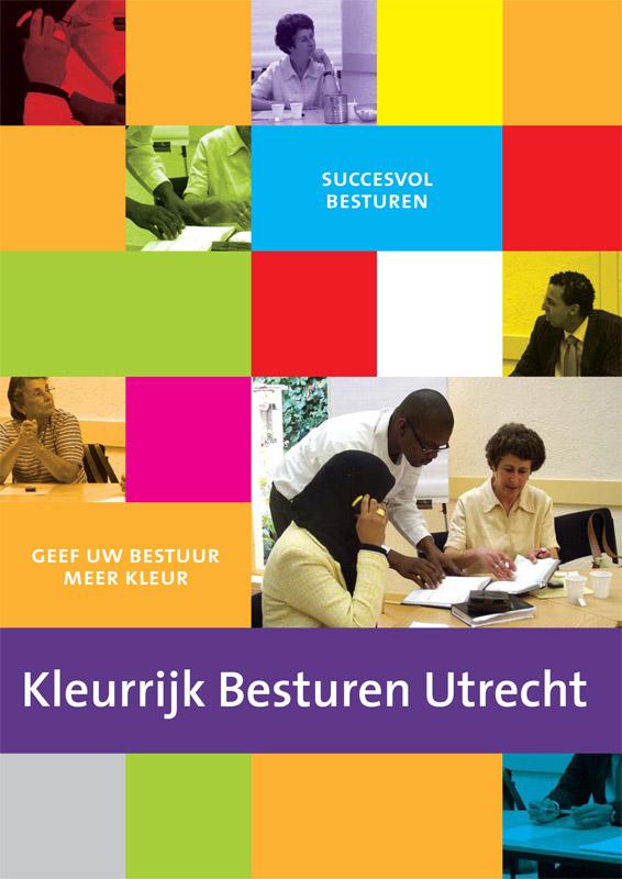 ontwerp flyer KLeurrijk besturen, voor de vrijwilligerscentrale Utrecht