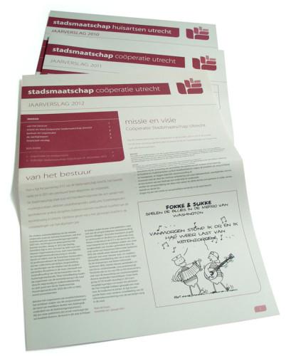 grafisch ontwerp jaarverslagen Coöperatie Stadsmaatschap Utrecht