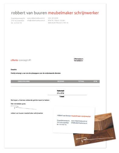 robbert van buuren meubelmaker schrijnwerker visitekaartje en offerte/factuur-papier
