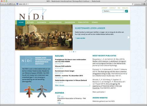 ontwerp website voor het NiDi (Nederlands Interdisciplinair Demografisch Instituut)