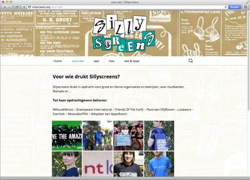 ontwerp en technische uitvoering website Sillyscreens, milieuvriendelijke zeefdrukkerij.