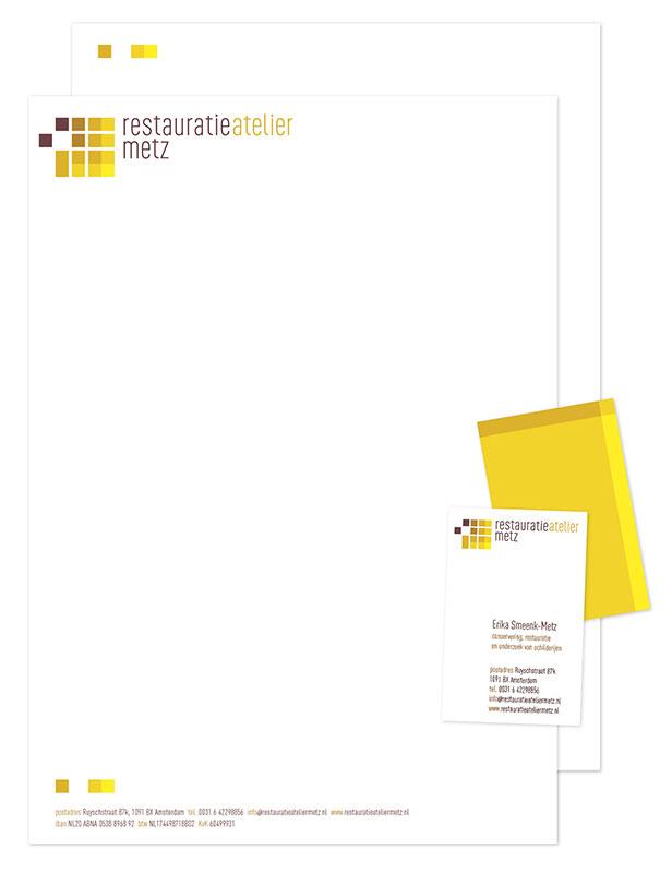 ontwerp huisstijl - correspondentiepaakket restauratieatelier Metz
