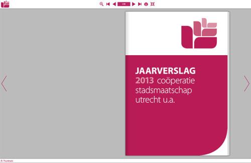 grafisch ontwerp digitale bladerversie jaarverslag 2013 voor Coöperatie Stadsmaatschap Utrecht.