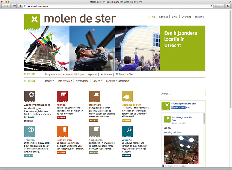 ontwerp en realisatie site Molen de Ster Utrecht