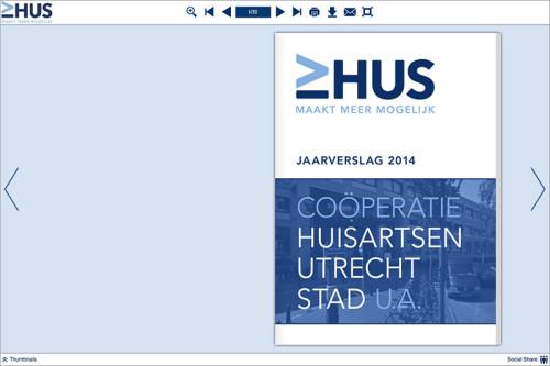 grafisch ontwerp digitale bladerversie jaarverslag HUS