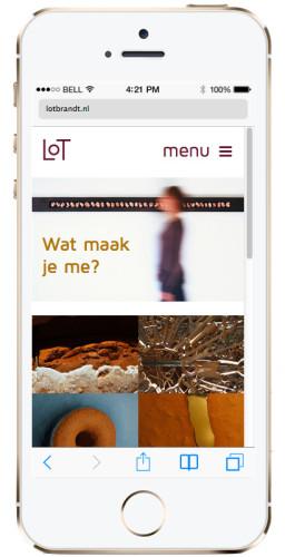 mobile versie website portfolio voor Lot Brandt
