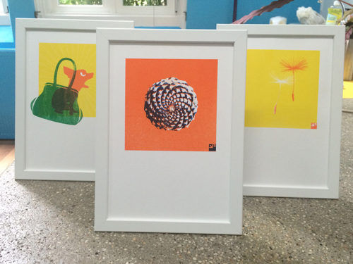 diverse ontwerpen in kleine oplage met meerdere kleuren op de risograph gedrukt