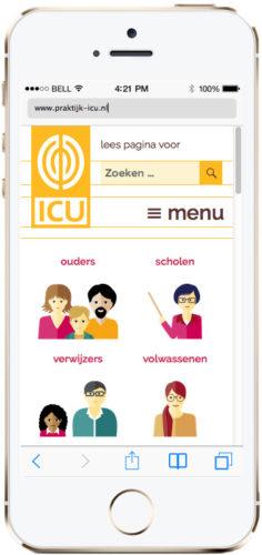 mobiele versie van WordPress website, responsive ontwerp voor ICU