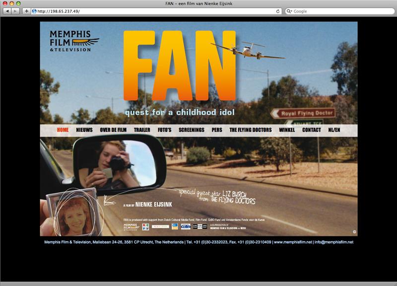 ontwerp website voor de film Fan