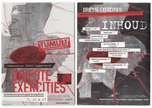 grafisch ontwerp programmaboekje / brochure Tumult - drieste exercities