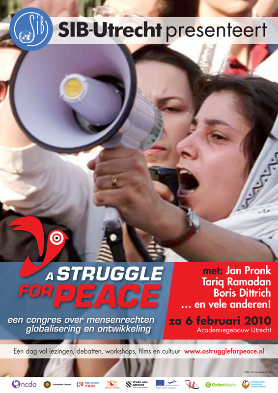 grafisch ontwerp reeks affiches voor congres A Struggle for Peace