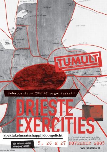 poster aankondiging Drieste exercities Tumult