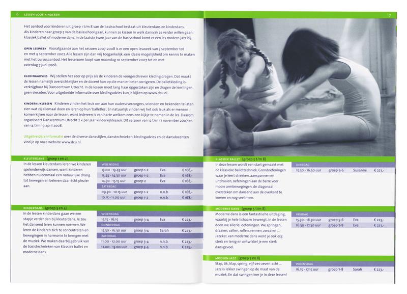 brochure danscentrum Utrecht kinderdans aanbod