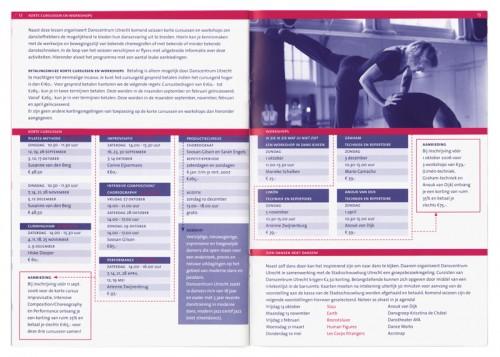 brochure danscentrum Utrecht, centrum voor moderne amateurdans, aanbod cursussen
