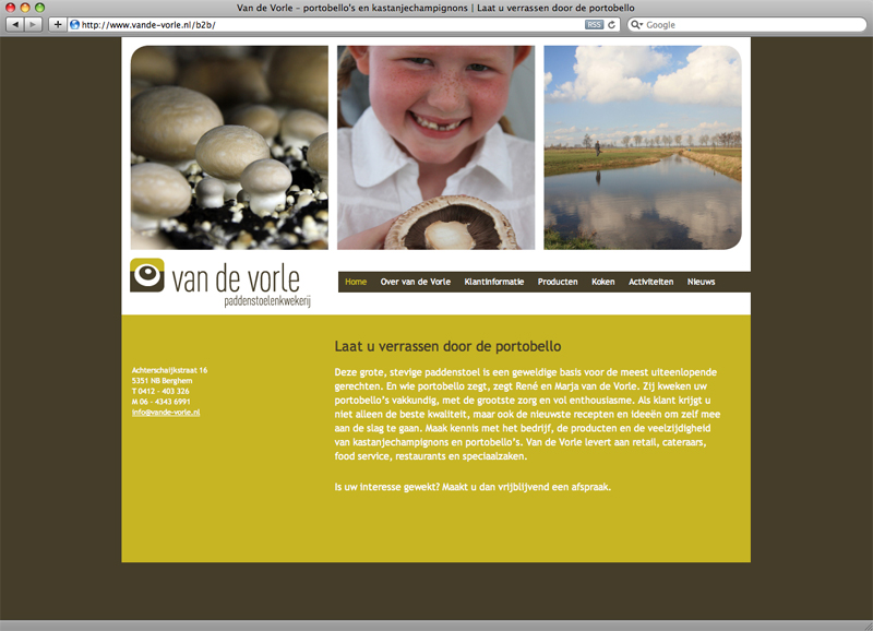 ontwerp website en technische realisatie dmv Wordpress voor van de Vorle paddenstoelenkwekerij