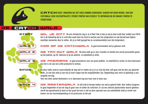 grafisch ontwerp A5-kaart de Catch-walk