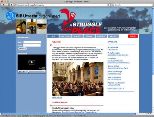 webdesign voor congres A Struggle for peace