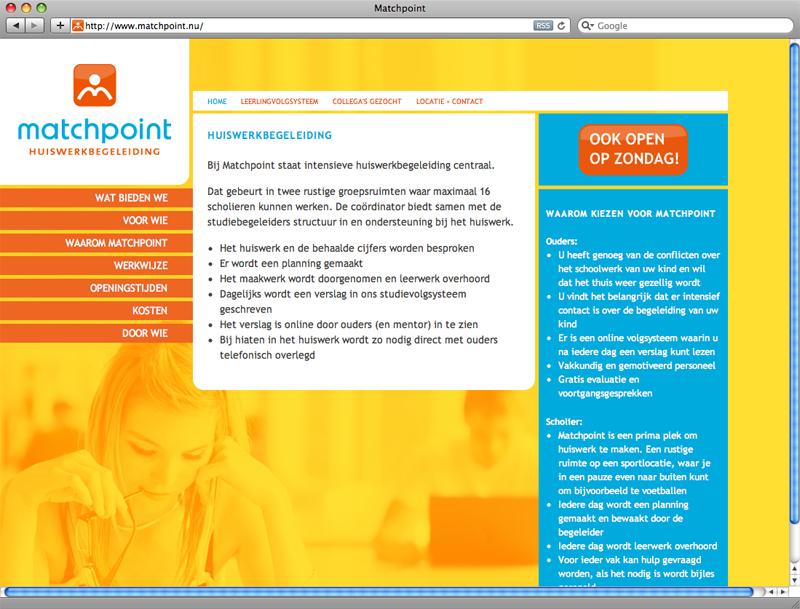 grafisch ontwerp en technische realisarie van website voor Matchpoint