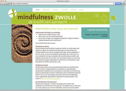 ontwerp en technische realisatie website voor Mindfulness Zwolle.
