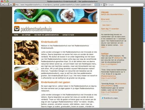 ontwerp webpagina het Paddenstoelenhuis