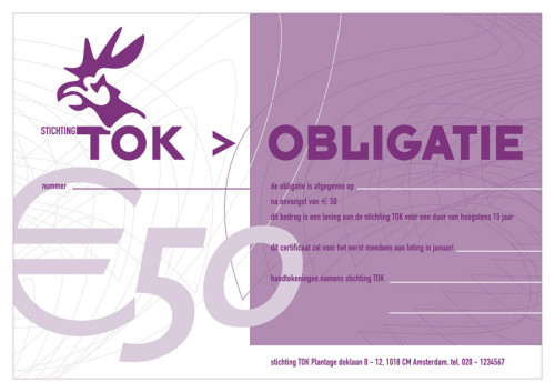 ontwerp obligatie Stichting Tok