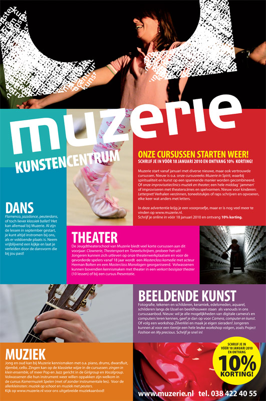 grafisch ontwerp advertentie kunstencentrum Muzerie