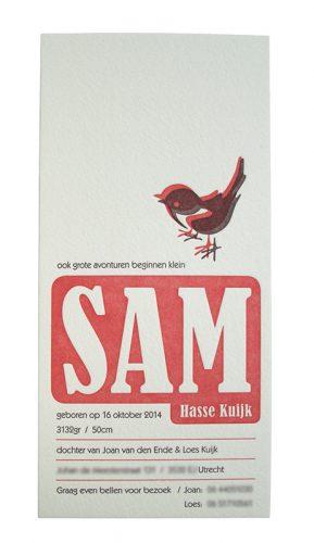 ontwerp geboortekaartje letterpress