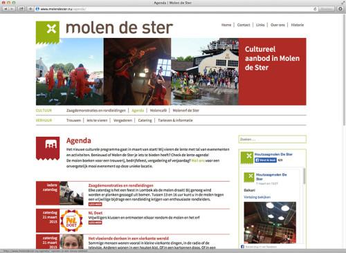 website ontwerp en realisatie voor Molen de Ster Utrecht