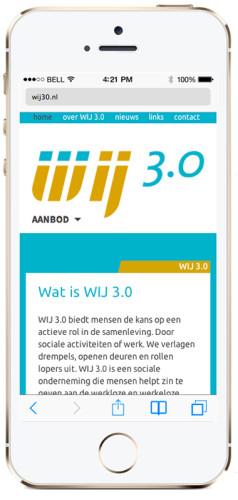 mobiele versie van website voor Wij 3.0 Utrecht
