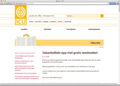 website voor Instituut voor Consultatie bij leerproblemen Utrecht