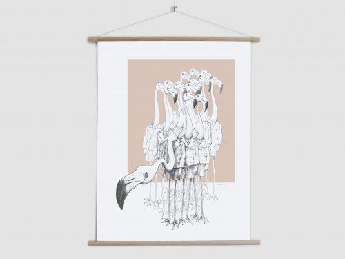 Canvas poster Weird & Wonderful - Flamingo boys