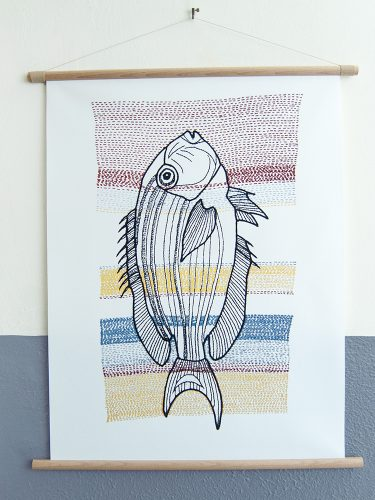 canvas poster Stitches - Fish