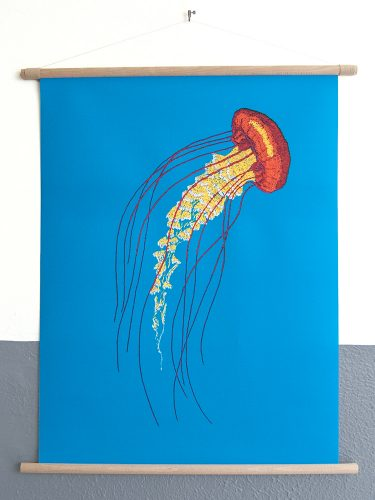 canvas poster Stitches - Jellyfish
