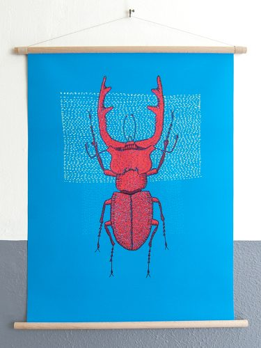 canvas poster Stitches - Red stag
