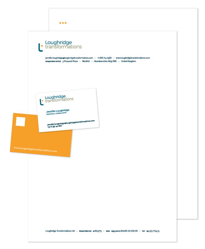 visitekaartje en briefpapier Word-template Loughridge Transformations